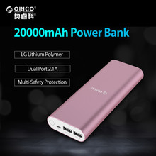 ORICO 20000mAh Power Bank Dual 5V 2.1A USB Port External Battery Pack Backup Charger Powerbank for Phone Tablets with Led