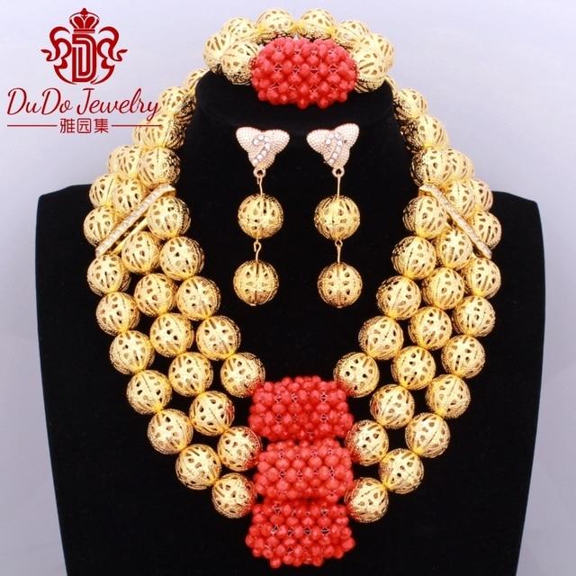Arabic Ladies Jewelry Set Brand African Nigerian Beads Bridal Wedding Jewelry Set Costume Christmas Gift Necklace Bracelet New