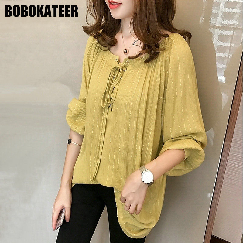 BOBOKATEER Plus Size Long Sleeve Chiffon Blouse Women Clothing Casual Ladies Shirt Womens Tops And Blouses