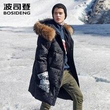 BOSIDENG beyaz kaz uzun kaban erkekler uzun aşağı ceket erkekler uzun kalınlaşmak dış giyim gerçek kürk karlı gün su geçirmez sıcak B80142153