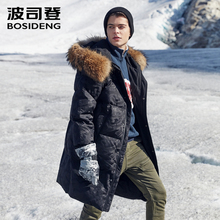 BOSIDENG blanc duvet doie manteau hommes longue doudoune hommes longue épaissir vêtements dextérieur vraie fourrure neige jours imperméable chaud B80142153
