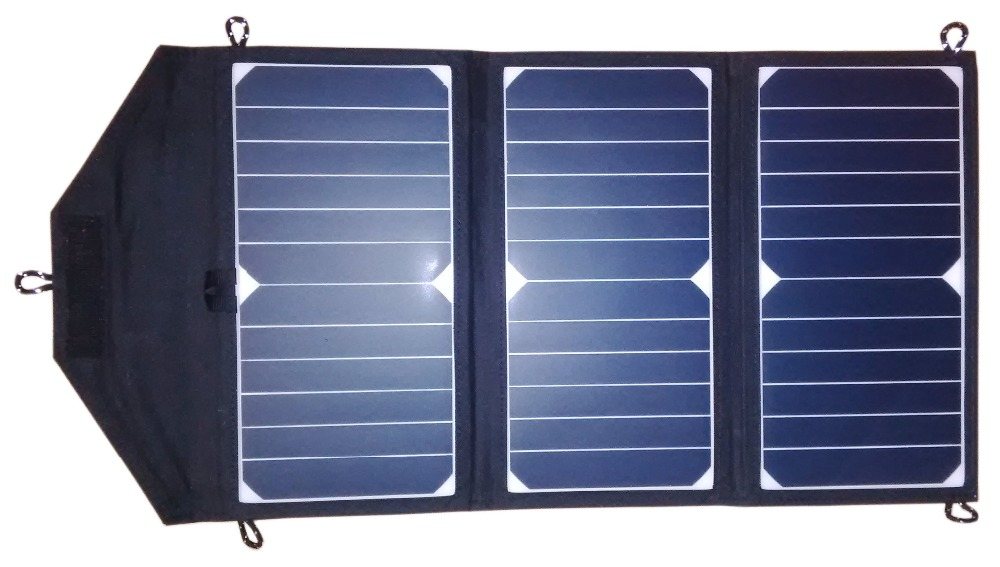 GGX ENERGY Sunpower Solar Cells 21Watt Portable Folding Solar Panel Array Charger DC Out for 18V/12V Battery, USB 5V for Phones