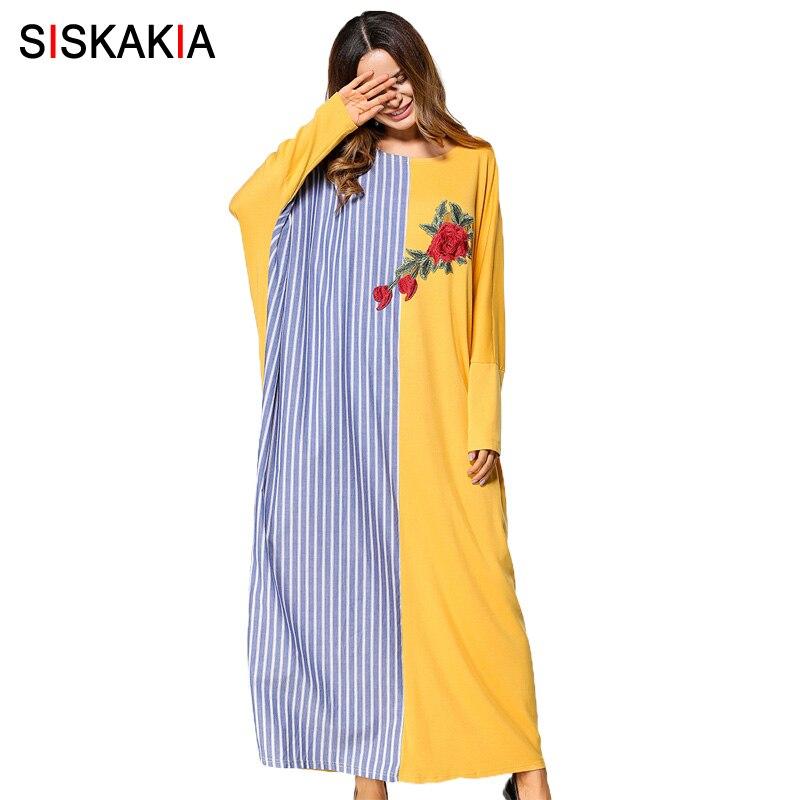 Siskakia Rose Embroidery stripe color block women gowns muslim oversized bat sleeve dresses Spring Autumn 2018 maxi long dress