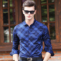 2016 Mens Business Shirts Casual Slim Fit Long Sleeve Solid Cotton mens dress shirts Male designer Print Dress Shirt Big Size