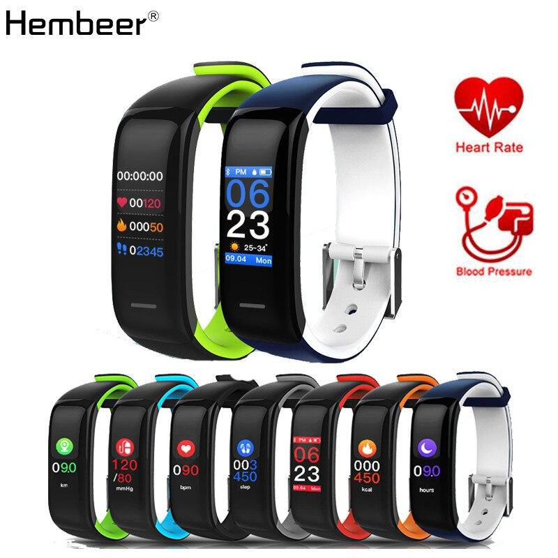 Hembeer h1 плюс смарт-браслет наиболее точным сердечного ритма Мониторы Приборы для измерения артериального давления Фитнес часы Красочные Сенсорный экран PK fitbits