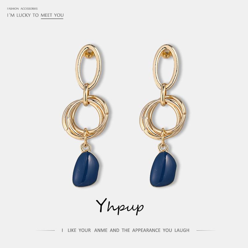 Yhpup Fashion Elegant Copper Enamel Dangle Drop Earrings Geometric S925 Silver Pins Earrings For Women Party Jewelry oorbellen