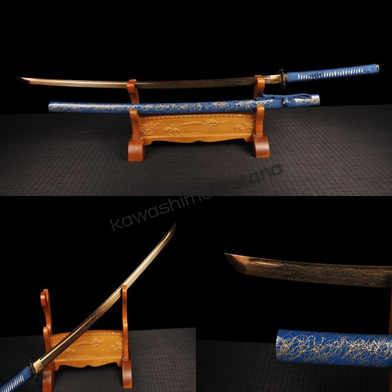 Home Decor <font><b>Collection</b></font> Artwork <font><b>Blue</b></font> <font><b>Samurai</b></font> <font><b>Sword</b></font> <font><b>Katana</b></font> Gold Blade Sharp Edge