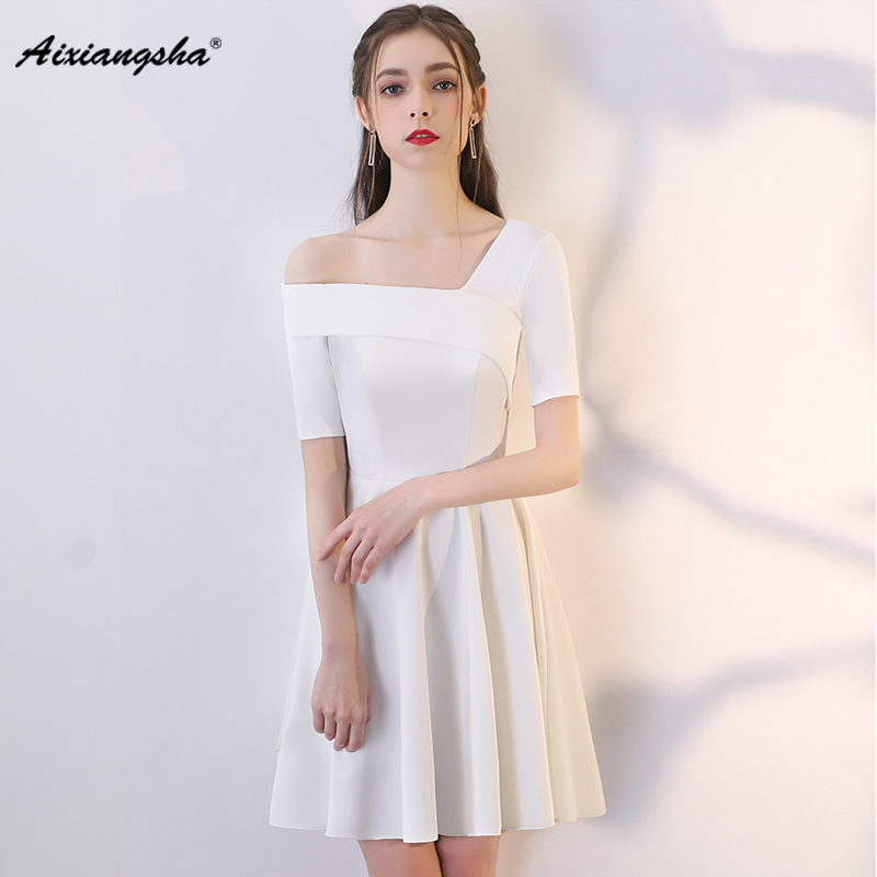 White Short Sleeves One Shoulder Knee Length Fashionable A Line