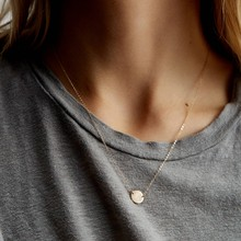 Korean Pop Style Golden Ladies Stainless Steel Necklace Women's Round Pendant Short Necklace Fashion Necklaces 2019(China)