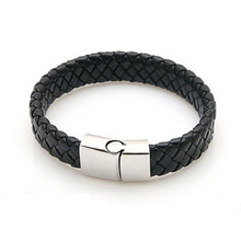 Fashion jewelry Black Braided Leather Bracelet Men Stainless Steel Silver Bracelets Bangles de couro pulseiras masculinos YK2057