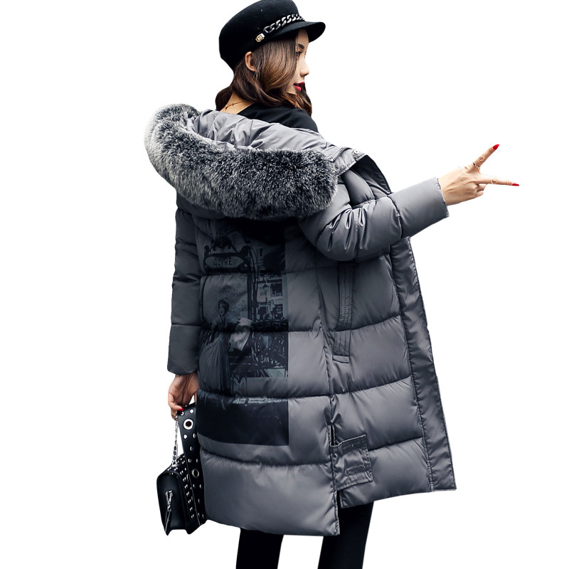 NEW Winter Jacket Women Print Fur Collar Long Parka Cotton Wadded Maxi Coats Warm Hooded Jackets Winter Coat Abrigos Mujer C3500 winter jacket women coats big fur collar down wadded jacket female cotton padded jackets thicken winter coat women parka mujer