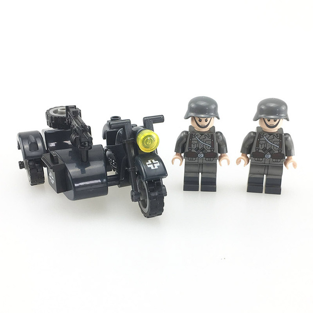 HOT WW2 Germany Military Motorcycle Army Soldiers Rifle Vehicle Model Weapons Building Block Military Figures Toys for children