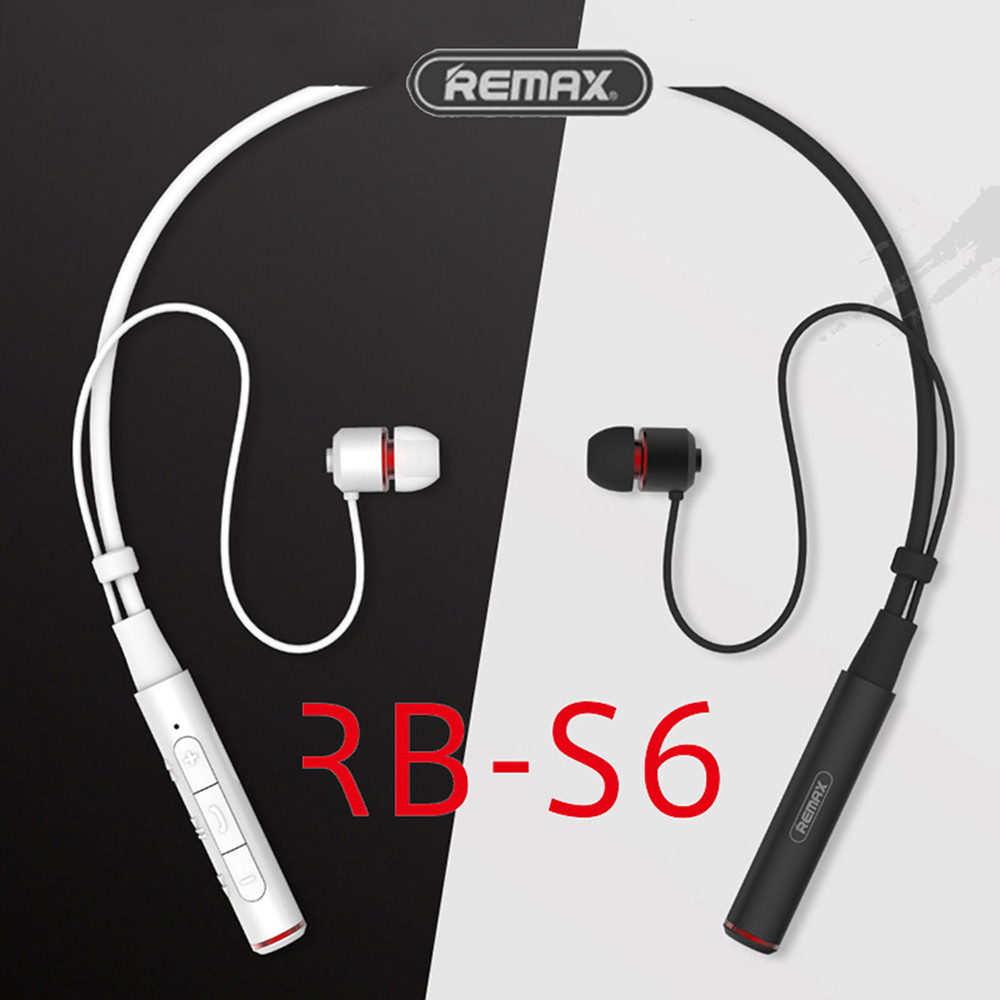 Remax RB-<font><b>S6</b></font> Sports Neckband <font><b>Bluetooth</b></font> Headset Wireless Stereo Music Earphone <font><b>Bluetooth</b></font> V4.1 HD Mic Multi Connections For iPhone image