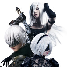 HSIU NEW High quality YoRHa No.2 Type B 2BYoRH 2A 9S 2B wig Cosplay Wig NieR:Automata Costume Play Wigs Costumes Hair