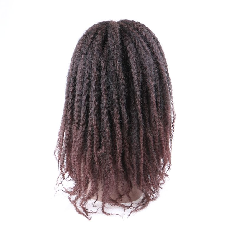Luxury For Braiding 18inch 240g Ombre Brown Black Color 250g Marley Afro Kinky Curly None Lace Synthetic Wig for Women in Synthetic None Lace Wigs from Hair Extensions Wigs