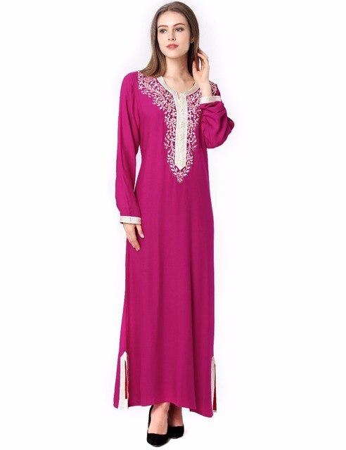 Мусульманских женщин С Длинным рукавом Дубай Платье макси абая jalabiya исламская женщины одеваются одежды халат кафтан Марокканской моды embroidey1631