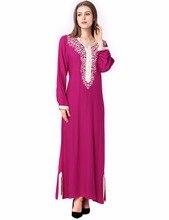 Muslim women Long sleeve Dubai Dress maxi abaya jalabiya islamic women dress clothing robe kaftan Moroccan fashion embroidey1631