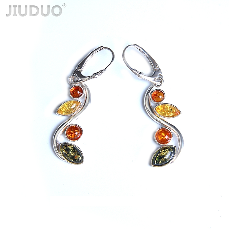 Genuine natural amber hollow silver drop ladies earrings jewelry earrings design manufacturers specials direct shipping metal hand design drop earrings