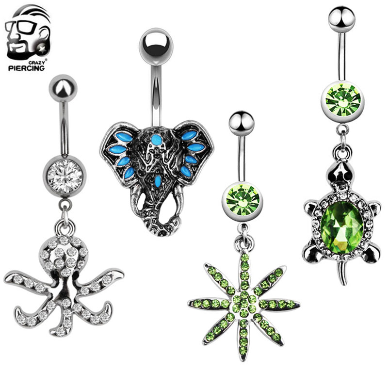 304 Stainless Steel Octopus Belly Button Ring Navel Body Piercing Jewellery