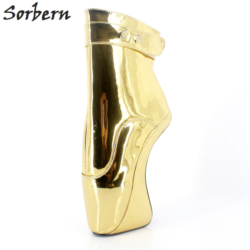 Sorbern Sexy 18cm Extreme High Heel Ballet Heelless Short Boot Unisex Fetish Shoes Heels Patent Leather Lace-Up Ankle Boots jialuowei brand extreme high heel 18cm 7 sexy fetish hoof heel wedges boots patent leather lace up ballet short ankle boots