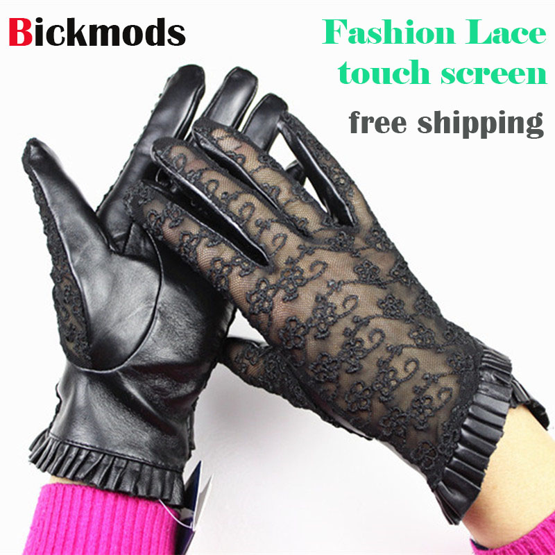 Sheepskin gloves lady touch screen gloves thin fashion lace style spring and autumn black brown gray women's leather gloves