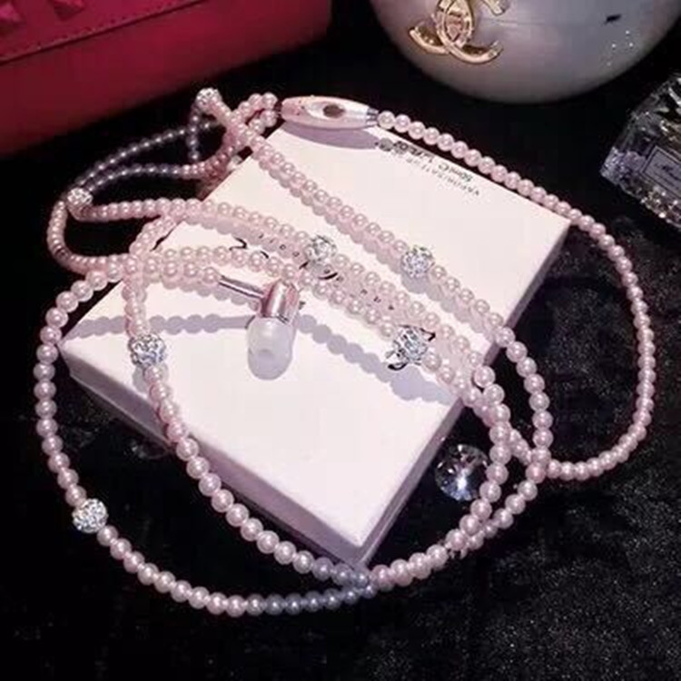 Pearl necklace headset in ear fashion personality earphone headphone with  microphone