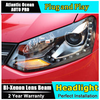 car styling LED Head Lamp for VW Polo GTI led headlights 2011 2014 cross angel eye led drl HID KIT Bi Xenon Lens low beam