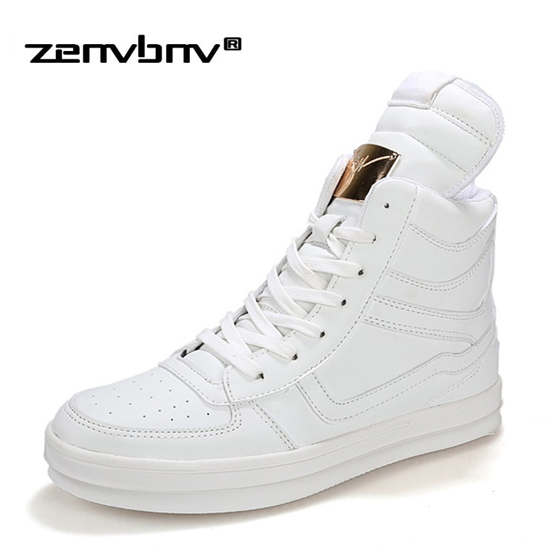 ZENVBNV Fashion High Top Casual Shoes For Men PU Leather Lace Up Black Mens White Shoes Fashion Men Sneakers Male Footwear Flats fashion high top mens genuine leather work casual shoes lace up tenis flats footwear breathable male shoes punk zapatos hombre