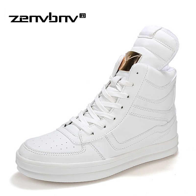 8b94e376144 ZENVBNV модные высокие повседневные туфли для мужчин из искусственной кожи  на шнуровке черные мужские белые туфли