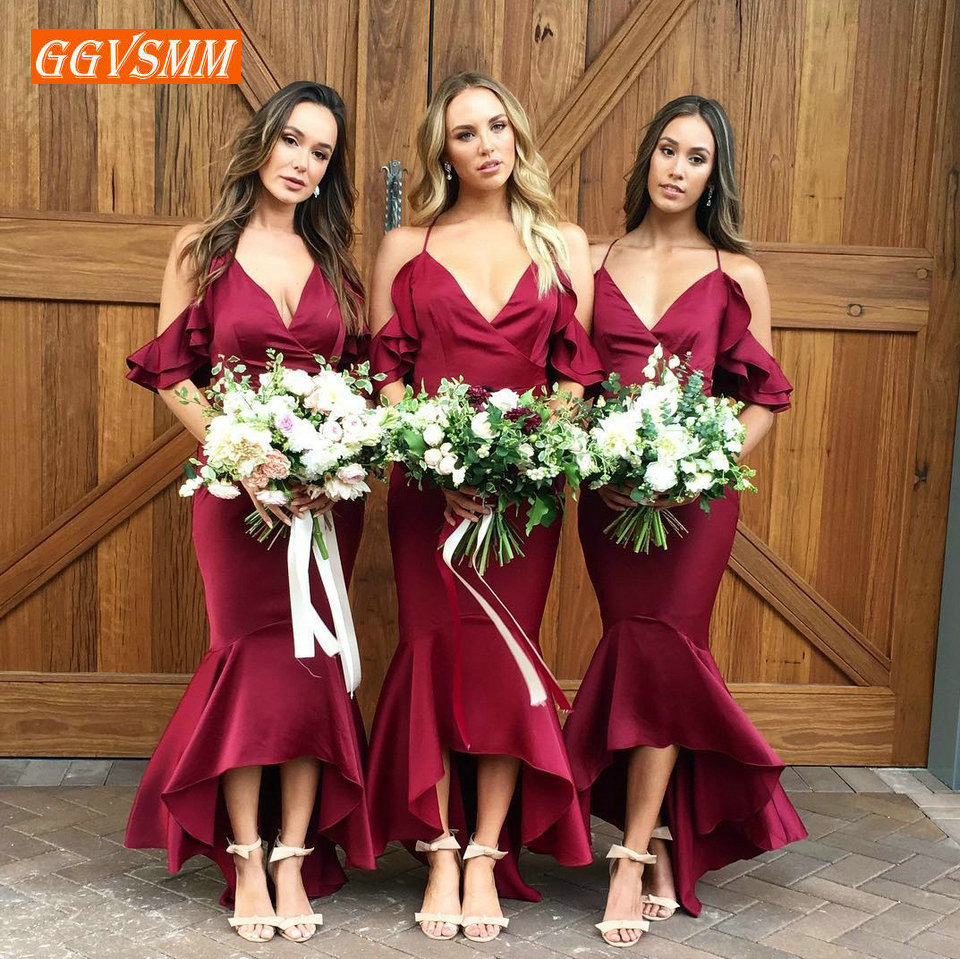 Concise Burgundy   Bridesmaid     Dresses   Long 2019 Wedding Party   Dress   V-Neck Mermaid Slim Fit Formal Banquet Women   Dress   In Stock