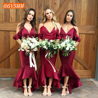 Concise Burgundy Bridesmaid Dresses Long 2019 Wedding Party Dress V Neck Mermaid Slim Fit Formal Banquet Women Dress In Stock