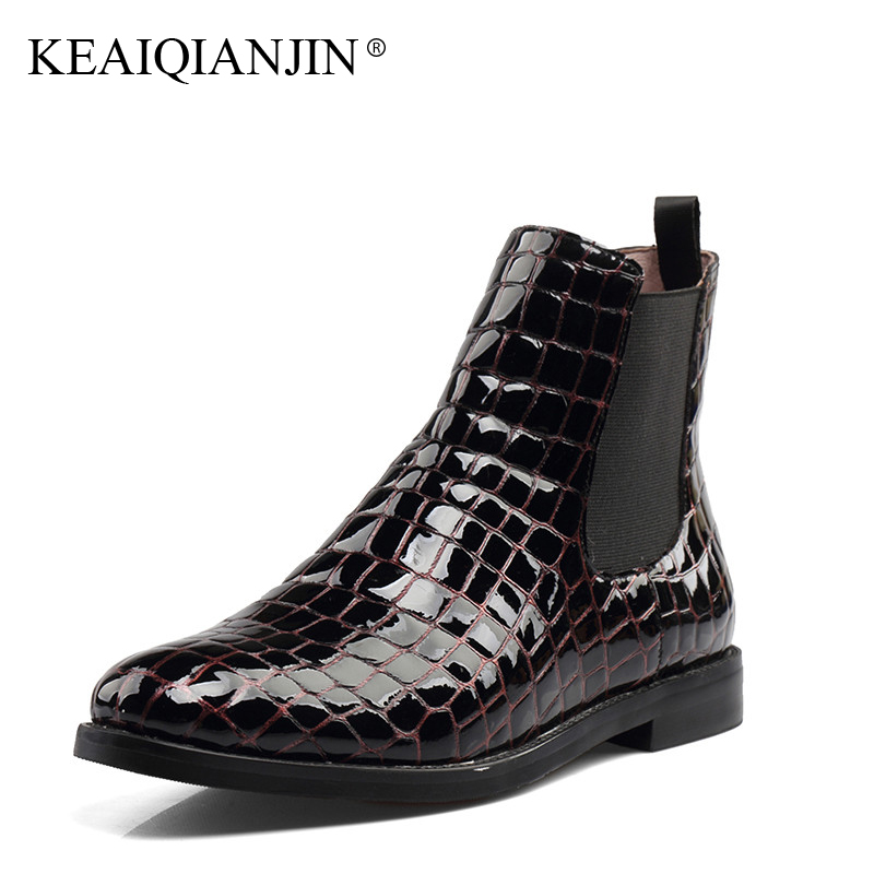 KEAIQIANJIN Woman Genuine Leather Ankle Boots Autumn Winter Plus Size 33 - 43 Shoes Black Wine Red Patent Leather Ankle Boots keaiqianjin woman genuine leather martens boots black beige plus size 33 43 autumn winter shoes genuine leather ankle boots