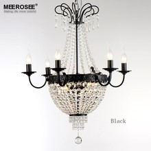 French Empire Crystal Chandelier Lighting Fixture Vintage Lustres Restaurant Wrought Iron Para Quarto