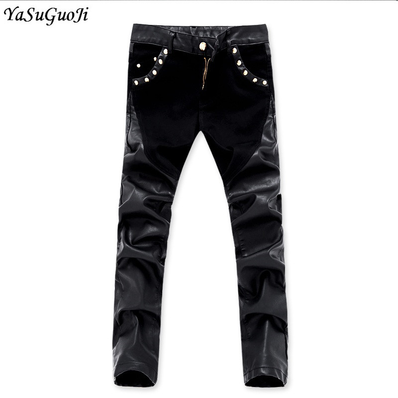 New 2018 punk style fashion zipper design slim fit pu leather patchwork pants men streetwear hip hop skinny jeans men PK6-11