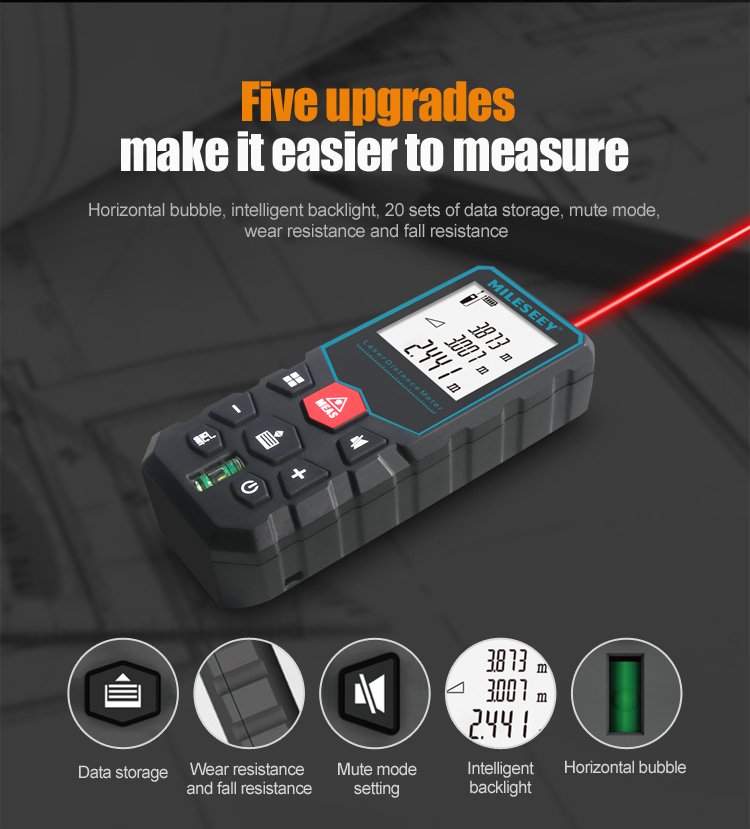 MiLESEEY Laser Distance Meter with Auto Laser Off and for Volume and Area Measurement 2