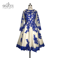 New Elegant Royal Blue Lace Mother of the Bride Dresses 2017 Plus Size A line Long Sleeve Tea Length Formal Evening Party Gown