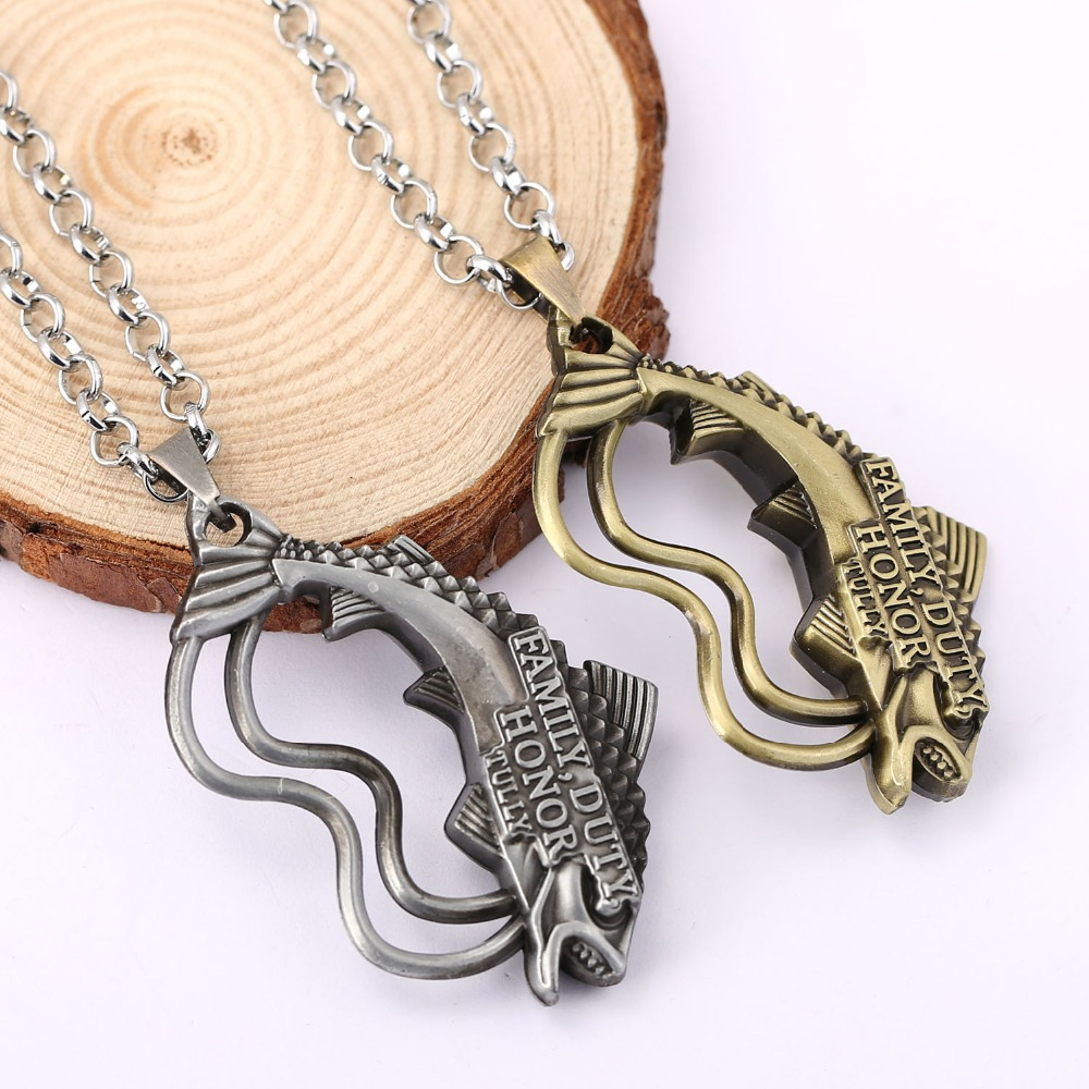 H&F Hot The song of ice and fire Game of Thrones House Tully of the Riverrun pendant necklace Unisex Winter Is Coming