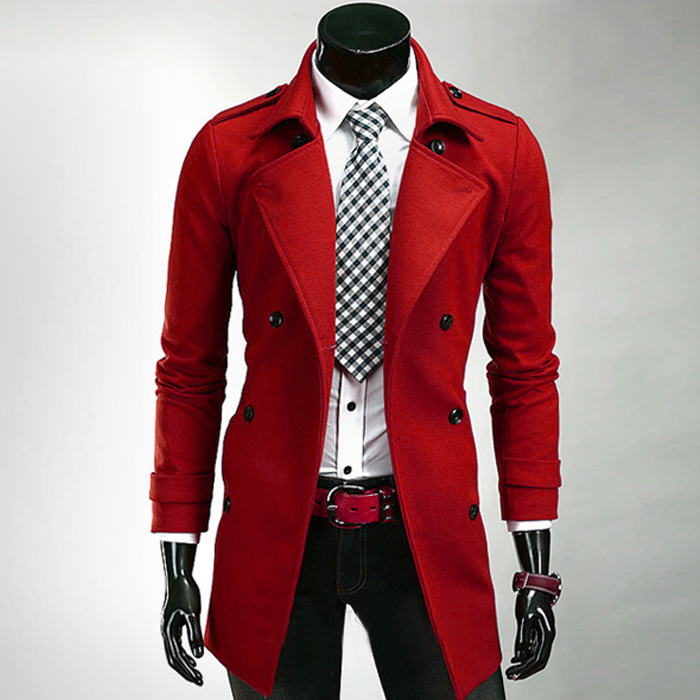 2015 Mens Coats Red Black Long Trench Coat Men With Belt Winter ...