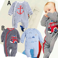 Baby cartoon Pirate Ship Stripe rompers kids Hooded long sleeve cotton Jumpsuits autumn Baby Climbing clothes E1390