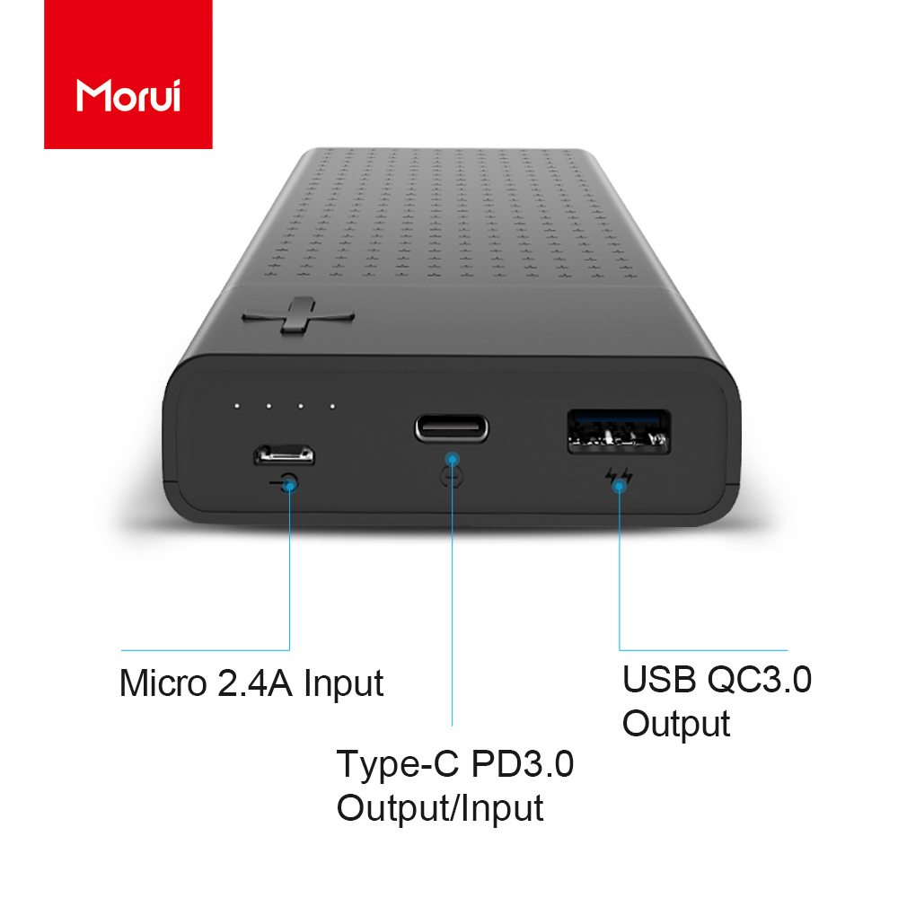 MORUI 20000mAh Power Bank SN20 Pro Quick Charge 3.0 External Battery USB QC3.0 + 18W Type C PD3.0 Ports Fast Charging Powerbank