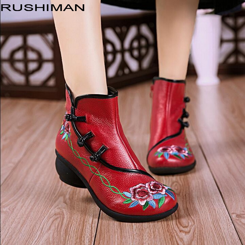 2018 autumn winter new national wind Genuine Leather Women Boots Round Toe embroidery round head casual
