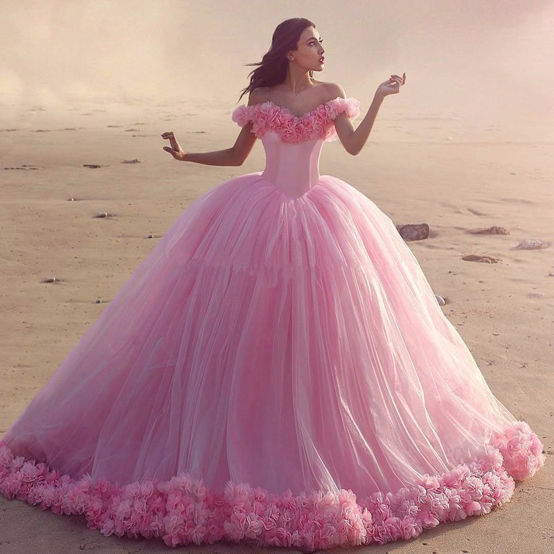 2017 Puffy Pink Quinceanera Dresses Princess Cinderella Formal Long Ball Gown Party Gowns Prom Gowns