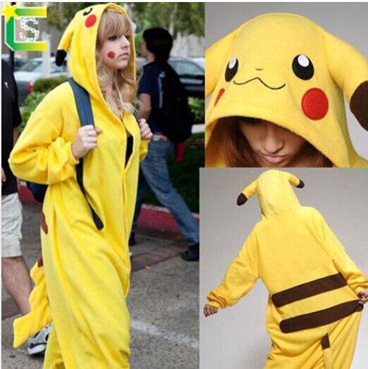 Anime pajamas Adult pokemon pikachu Onesie fantasias costume mascot pikachu halloween cospaly costumes for women and men