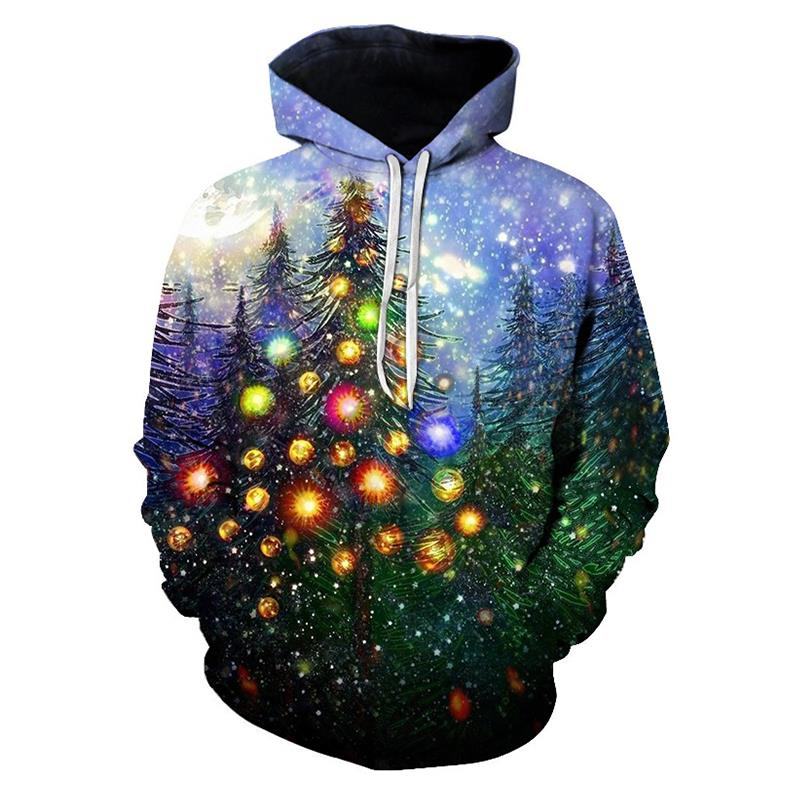 Célébrez 2019 noël impression 3D Galaxy Xmars arbre motif Hiphop sweat à capuche sweats à capuche unisexe Couple vêtements de sport décontractés