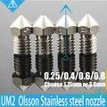 NOVO! 4 PCS hotend Ultimaker impressora 3D 2 + UM2 Estendida Olsson bloco do bico de aço inoxidável para 1.75/3.0 MM