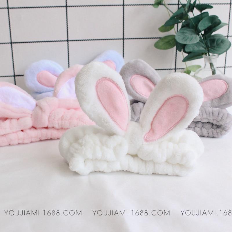 2018 New Facial Mask Hair Band Cute Rabbit Cartoon Animal Coral Fleece Baby Bands Girl Women Hair Bands Wash Face Hair Band