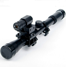 Big discount 4×20 Hunting Air Gun Optics Scope Riflescope Telescope + Red Laser Sight + 20mm Mount For 22 Caliber Rifles Airsoft Guns Weapon