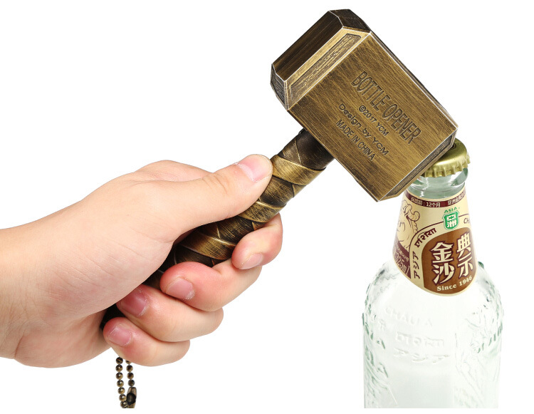 Avengers 3 Marvel Thor's Hammer Bottle Opener Mjolnir Keychain Toys Silver Metal Thor Odinson Hammer Open Keyring Adults Toys flare sleeve cut out bowknot mini dress