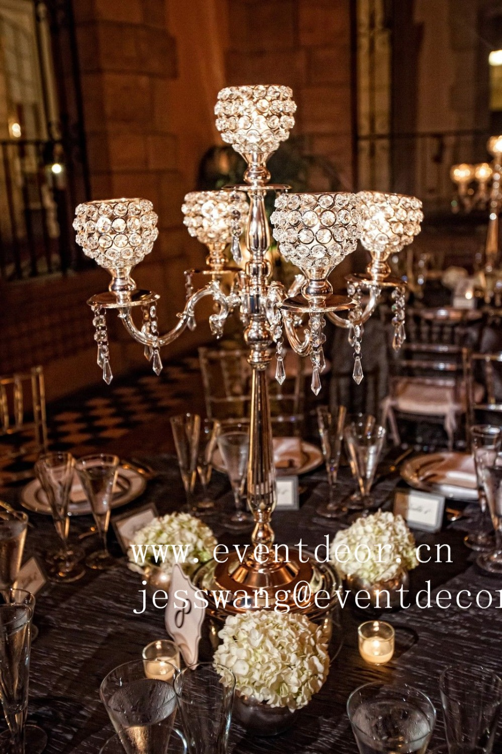 Candelabra with crystal for wedding centerpiece cm tall