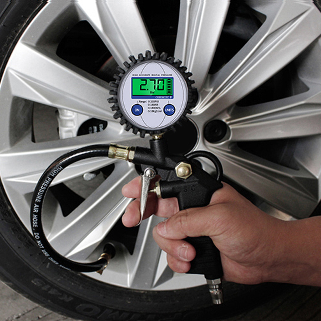 Hot  Air Pressure Inflator Gauge Meter Tester 0-220PSI 0-16bar Digital Tyre Pressure Gauge Tyre Tire Manometer